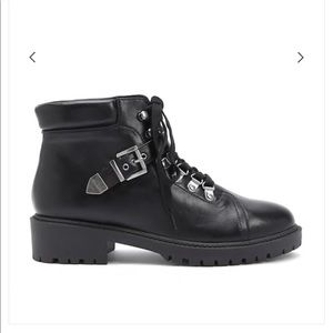 NWT Faux Leather Combat Boots Black Ankle Boots